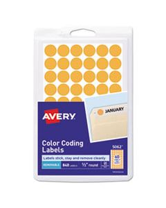 """AVE05062 HANDWRITE ONLY SELF-ADHESIVE REMOVABLE ROUND COLOR-CODING LABELS, 0.5"""" DIA., NEON ORANGE, 60/SHEET, 14 SHEETS/PACK"""
