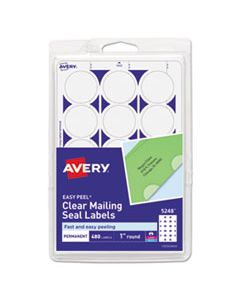 """AVE05248 PRINTABLE MAILING SEALS, 1"""" DIA., CLEAR, 15/SHEET, 32 SHEETS/PACK"""