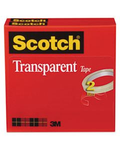 "MMM6002P1272 TRANSPARENT TAPE, 3"" CORE, 0.5"" X 72 YDS, TRANSPARENT, 2/PACK"