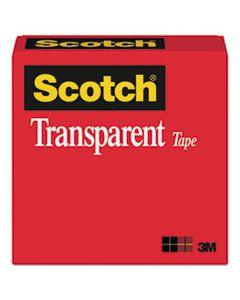 "MMM600121296 TRANSPARENT TAPE, 1"" CORE, 0.5"" X 36 YDS, TRANSPARENT"