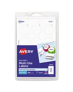 """AVE05410 REMOVABLE MULTI-USE LABELS, INKJET/LASER PRINTERS, 1"""" DIA., WHITE, 12/SHEET, 50 SHEETS/PACK"""