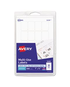 AVE05428 REMOVABLE MULTI-USE LABELS, INKJET/LASER PRINTERS, 1 X 0.75, WHITE, 20/SHEET, 50 SHEETS/PACK