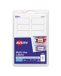 AVE05430 REMOVABLE MULTI-USE LABELS, INKJET/LASER PRINTERS, 0.75 X 1.5, WHITE, 14/SHEET, 36 SHEETS/PACK