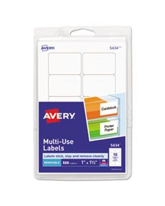 AVE05434 REMOVABLE MULTI-USE LABELS, INKJET/LASER PRINTERS, 1 X 1.5, WHITE, 10/SHEET, 50 SHEETS/PACK