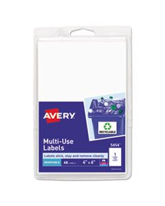 AVE05454 REMOVABLE MULTI-USE LABELS, INKJET/LASER PRINTERS, 4 X 6, WHITE, 40/PACK