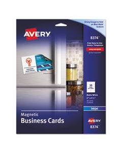 AVE8374 MAGNETIC BUSINESS CARDS, 2 X 3 1/2, WHITE, 10/SHEET, 30/PACK