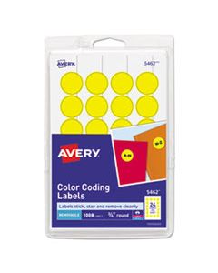 """AVE05462 PRINTABLE SELF-ADHESIVE REMOVABLE COLOR-CODING LABELS, 0.75"""" DIA., YELLOW, 24/SHEET, 42 SHEETS/PACK"""