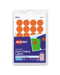 """AVE05465 PRINTABLE SELF-ADHESIVE REMOVABLE COLOR-CODING LABELS, 0.75"""" DIA., ORANGE, 24/SHEET, 42 SHEETS/PACK"""