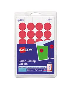 """AVE05466 PRINTABLE SELF-ADHESIVE REMOVABLE COLOR-CODING LABELS, 0.75"""" DIA., RED, 24/SHEET, 42 SHEETS/PACK"""