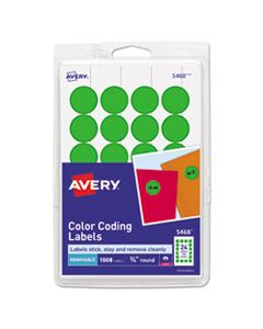 """AVE05468 PRINTABLE SELF-ADHESIVE REMOVABLE COLOR-CODING LABELS, 0.75"""" DIA., NEON GREEN, 24/SHEET, 42 SHEETS/PACK"""