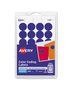 """AVE05469 PRINTABLE SELF-ADHESIVE REMOVABLE COLOR-CODING LABELS, 0.75"""" DIA., DARK BLUE, 24/SHEET, 42 SHEETS/PACK"""