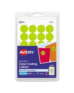 """AVE05470 PRINTABLE SELF-ADHESIVE REMOVABLE COLOR-CODING LABELS, 0.75"""" DIA., NEON YELLOW, 24/SHEET, 42 SHEETS/PACK"""