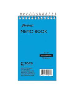 TOP25093 MEMO BOOKS, NARROW RULE, 3 X 5, WHITE, 50 SHEETS