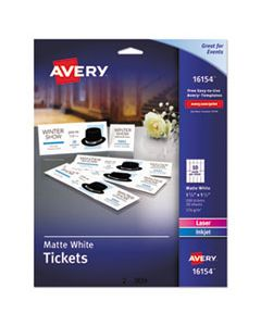 AVE16154 PRINTABLE TICKETS W/TEAR-AWAY STUBS, 97 BRIGHT, 65LB, 8.5 X 11, WHITE, 10 TICKETS/SHEET, 20 SHEETS/PACK