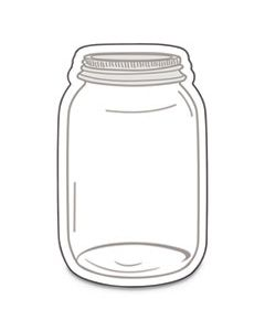 "CDP120543 SINGLE DESIGN CUT-OUTS, MASON JARS, WHITE/GRAY, 3"" X 3"", 36/PACK"