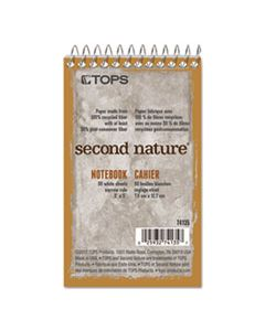 TOP74135 SECOND NATURE SINGLE SUBJECT WIREBOUND NOTEBOOKS, 1 SUBJECT, NARROW RULE, RANDOMLY ASSORTED COLOR COVERS, 3 X 5, 50 SHEETS
