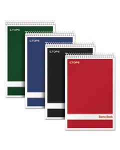 TOP80220 STENO BOOK, GREGG RULE, ASSORTED COVERS, 6 X 9, 80 WHITE SHEETS, 4/PACK