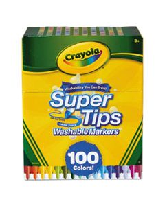 CYO585100 SUPER TIPS WASHABLE MARKERS, BROAD/FINE BULLET TIP, ASSORTED COLORS, 100/SET