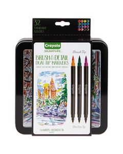 CYO586501 BRUSH & DETAIL DUAL ENDED MARKERS, EXTRA-FINE BRUSH/BULLET TIP, ASSORTED COLORS, 16/SET