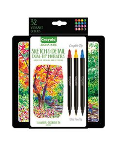 CYO586511 SKETCH & DETAIL DUAL ENDED MARKERS, X-FINE/FINE BULLET TIP, ASSORTED COLORS, 16/SET