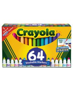 CYO588180 BROAD LINE WASHABLE MARKERS, BROAD BULLET TIP, ASSORTED COLORS, 64/SET
