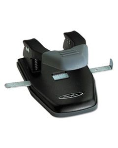 """SWI74050 28-SHEET COMFORT HANDLE STEEL TWO-HOLE PUNCH, 1/4"""" HOLES, BLACK/GRAY"""