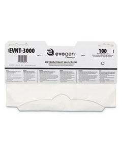 "HOSEVNT3000 EVOGEN NO TOUCH TOILET SEAT COVERS, 15 1/2"" X 9 1/4"", WHITE, 3000/CARTON"