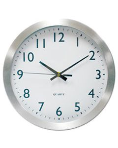 "UNV10425 BRUSHED ALUMINUM WALL CLOCK, 12"" OVERALL DIAMETER, SILVER CASE, 1 AA (SOLD SEPARATELY)"