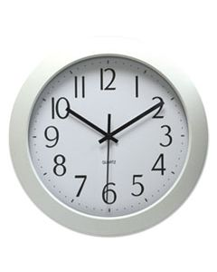 "UNV10461 WHISPER QUIET CLOCK, 12"" OVERALL DIAMETER, WHITE CASE, 1 AA (SOLD SEPARATELY)"