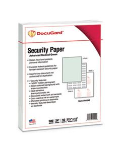 PRB04542 MEDICAL SECURITY PAPERS, 24LB, 8.5 X 11, GREEN, 500/REAM