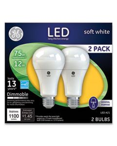 GEL65943 LED SOFT WHITE A21 DIMMABLE LIGHT BULB, 12 W, 2/PACK