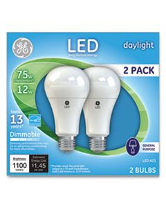 GEL66117 LED DAYLIGHT A21 DIMMABLE LIGHT BULB, 12 W, 2/PACK