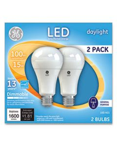 GEL66133 LED DAYLIGHT A21 DIMMABLE LIGHT BULB, 15 W, 2/PACK