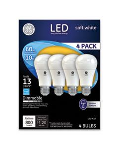 GEL67615 LED SOFT WHITE A19 DIMMABLE LIGHT BULB, 10 W, 4/PACK