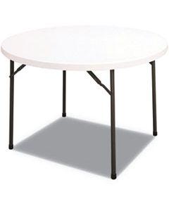ALEPT48RW ROUND PLASTIC FOLDING TABLE, 48 DIA X 29 1/4H, WHITE