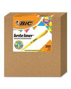 BICBL200YW BRITE LINER HIGHLIGHTER, CHISEL TIP, YELLOW, 200/CARTON