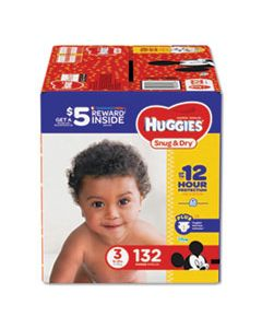 KCC43108 SNUG AND DRY DIAPERS, SIZE 3, 16 LBS TO 28 LBS, 132/PACK