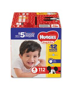 KCC43111 SNUG AND DRY DIAPERS, SIZE 4, 22 LBS TO 37 LBS, 112/PACK