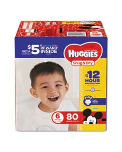 KCC43114 SNUG AND DRY DIAPERS, SIZE 6, 35 LBS MIN, 80/PACK