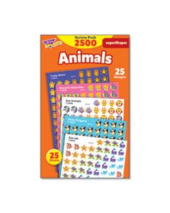 TEPT46904 SUPERSPOTS AND SUPERSHAPES STICKER PACKS, ANIMAL ANTICS, ASSORTED, 2500 STICKERS