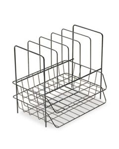"""FEL72371 WIRE DOUBLE TRAY WITH VERTICAL SORTER, 7 SECTIONS, LETTER SIZE FILES, 13.75"""" X 10.13"""" X 12.5"""", BLACK"""