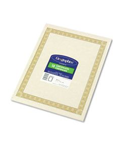 GEO21015 PARCHMENT PAPER CERTIFICATES, 8-1/2 X 11, NATURAL DIPLOMAT BORDER, 50/PACK