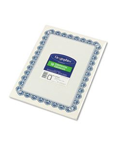 GEO22901 PARCHMENT PAPER CERTIFICATES, 8-1/2 X 11, BLUE ROYALTY BORDER, 50/PACK