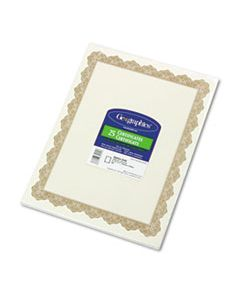 GEO39451 PARCHMENT PAPER CERTIFICATES, 8-1/2 X 11, OPTIMA GOLD BORDER, 25/PACK