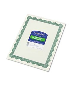 GEO39452 PARCHMENT PAPER CERTIFICATES, 8-1/2 X 11, OPTIMA GREEN BORDER, 25/PACK