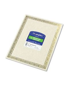 GEO44407 FOIL STAMPED AWARD CERTIFICATES, 8-1/2 X 11, GOLD SERPENTINE BORDER, 12/PACK