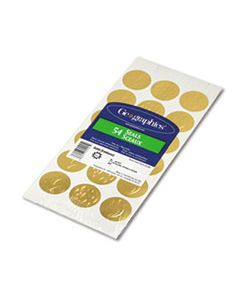 "GEO45204 SELF-ADHESIVE EMBOSSED SEALS, 1.25"" DIA., GOLD, 18/SHEET, 3 SHEETS/PACK"