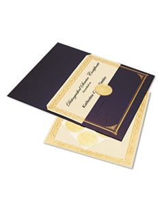 GEO47481 IVORY/GOLD FOIL EMBOSSED AWARD CERT. KIT, BLUE METALLIC COVER, 8-1/2 X 11, 6/KIT