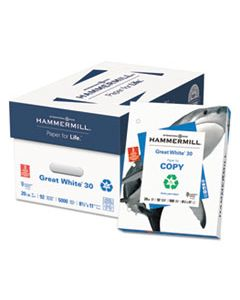 HAM86702 GREAT WHITE 30 RECYCLED PRINT PAPER, 92 BRIGHT, 3HOLE, 20LB, 8.5 X 11, WHITE, 500 SHEETS/REAM, 10 REAMS/CARTON
