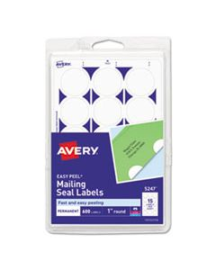 """AVE05247 PRINTABLE MAILING SEALS, 1"""" DIA., WHITE, 15/SHEET, 40 SHEETS/PACK"""